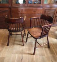 F1048 ARTS & CRAFTS PAIR OF BEECH ARMCHAIRS BY WILLIAM BIRCH