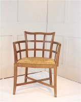 F1073 ARTS & CRAFTS LATICE BACK CHAIR BY AMBROSE HEAL