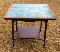 F851 ARTS & CRAFTS EARLY LIBERTY OAK TILE TOP TABLE