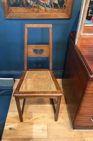 F876 ARTS & CRAFTS OAK CHAIR BY EA TAYLOR