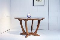 F1037 COTSWOLD SCHOOL OAK CIRCULAR TOP DINING TABLE