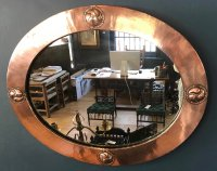OI1097 ARTS & CRAFTS COPPER FRAMED OVAL MIRROR
