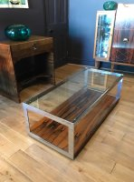 F834 SEVENTIES ROSEWOOD AND CHROME COFFEE TABLE