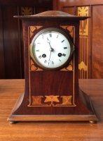 OI1032 ART NOUVEAU MAHOGANY MANTLE CLOCK