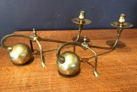 OI989 PAIR OF BRASS COUNTERBALANCE CANDLESTICKS
