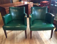 F787 FORTIES PAIR GREEN LEATHER ARMCHAIRS