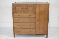 F1061 ARTS & CRAFTS OAK NURSERY CUPBOARD BY AMBROSE HEAL