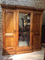F775 GOTHIC REVIVAL OAK INLAID WARDROBE