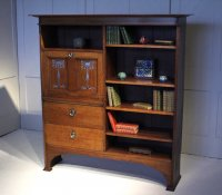 F1058 ARTS & CRAFTS OAK BUREAU BOOKCASE