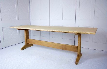 F1079 ARTS & CRAFTS OAK REFECTORY TABLE BY PETER WAALS