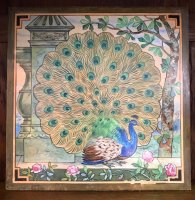 OI1027 AESTHETIC MOVEMENT LARGE PEACOCK TILE