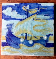 OI983 ARTS & CRAFTS GALLEON TILE