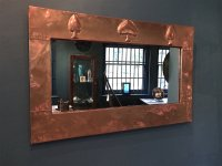 OI1057 ARTS & CRAFTS COPPER MIRROR BY LIBERTY & CO
