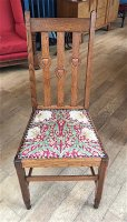 F1016 ARTS & CRAFTS SET OF 8 OAK DINING CHAIRS