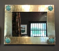 OI1029 ARTS & CRAFTS BRASS MIRROR BY LIBERTY