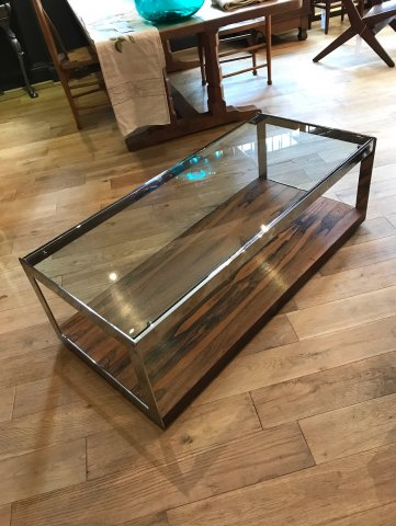 OI996 SEVENTIES ROSEWOOD & CHROME COFFEE TABLE