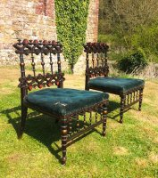 F805 AESTHETIC MOVEMENT PAIR OF EBONISED CHAIRS