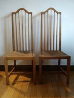 F735 ARTS & CRAFTS PAIR TALL BACK SIDE CHAIRS