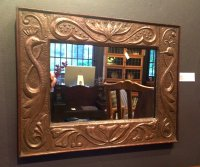 OI934 ARTS & CRAFTS COPPER FRAMED MIRROR BY JOHN PEARSON