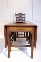 F1078 ARTS & CRAFTS OAK DROP LEAF TABLE BY ARTHUR SIMPSON