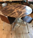F817 SIXTIES ROSEWOOD TABLE AND 6 CHAIRS