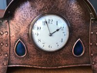 OI1112 ARTS & CRAFTS COPPER CLOCK WITH ENAMEL INSETS