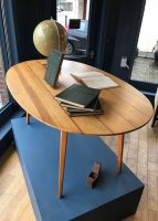 F874 FIFTIES HEALS BEECH AND WALNUT OVAL TABLE