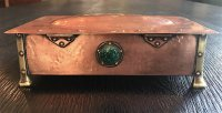 OI1091 ARTS & CRAFTS COPPER BOX WITH 5 RUSKIN INSETS