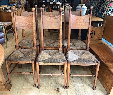 F1043 ARTS & CRAFTS SET OF 6 OAK DINING CHAIRS