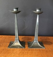OI976 ARTS & CRAFTS PAIR CANDLESTICKS BY JAMES DIXON