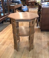 F858 ARTS & CRAFTS OAK OCTAGONAL TWO TIER TABLE
