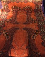 T48 ART NOUVEAU ORIGNAL PRINTED VELVET THROW