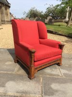 F1012 RARE CARVED OAK ARMCHAIR LIBERTY & CO