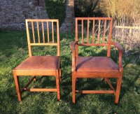 F791 COTSWOLD SCHOOL SET OF 6 OAK DINING CHAIRS